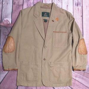 Vtg Orvis Safari Leather Elbow Blazer Sport Jacket